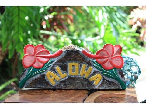 """Aloha"" w/ Hibiscus Sign - Hawaiian Decor"