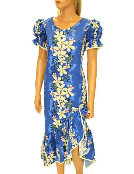 Mid-Length Vintage Plumeria Ruffled Muumuu Dress