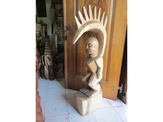 "Tiki Goddess Pele - 48"" Hand Carved Replica Natural - Muse De L'Homme Museum"