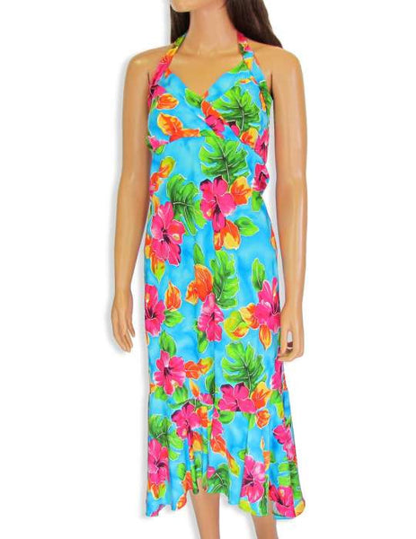 Teal Halter Water Hibiscus Flower Mid Length Dress