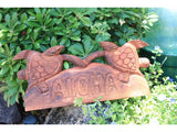 "Aloha Sign w/ Carved Turtles 12"" - Hawaii Decor"