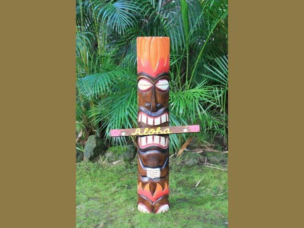God Of Fire Tiki Totem Pole 40""