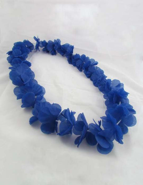 Blue Hawaiian Flower Silk Fun Party Lei