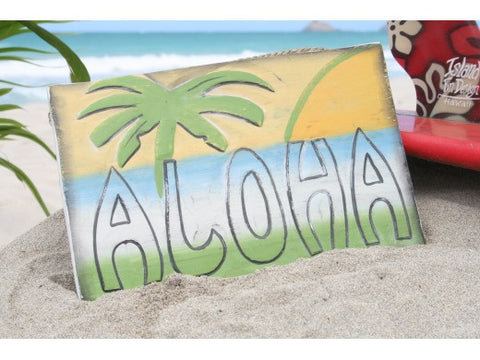 """Aloha"" Surf Panel 12"" Carved/Painted- Surf Decor"