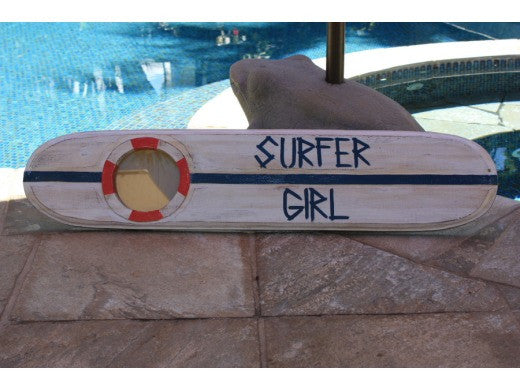 """Surfer Girl"" Nautical Sign w/ Built-In Photo frame 40"""