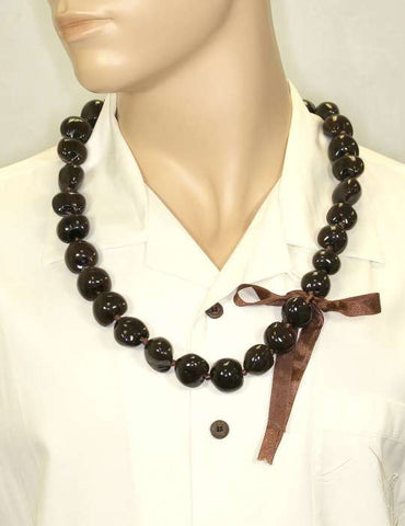 Dark Brown Polished Kukui Nut Candlenut Lei