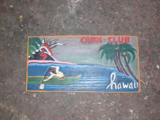 """Canoe Club, Hawaii"" W/ Volcano Vintage Wood Sign 24"""