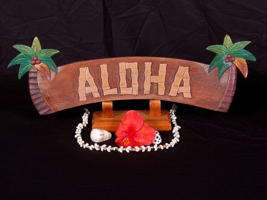 "Welcome Sign ""Aloha"" W/ Palm Trees - Tiki Bar Decor"