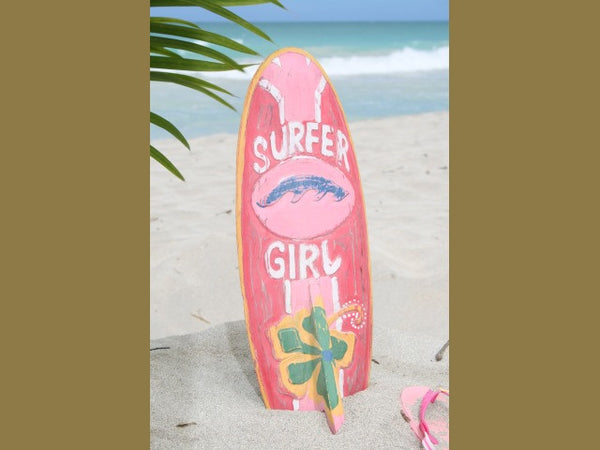 """Surfer Girl"" Surf Sign W/ Fin 20"" - Surfing Decor"