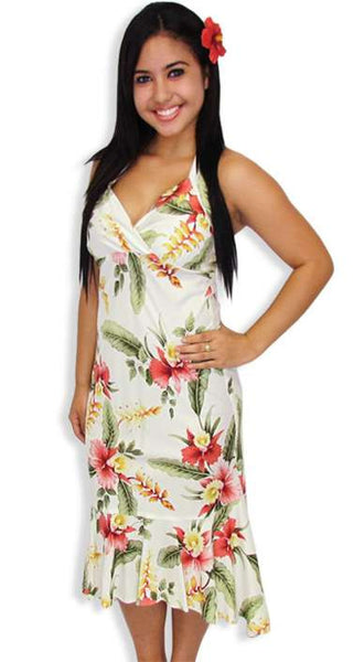 Beige Orchid Pu'a Halter Mid Length Rayon Dress