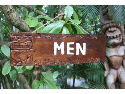 """Men"" Bathroom Tiki Sign 24"" - Tiki Restaurant"
