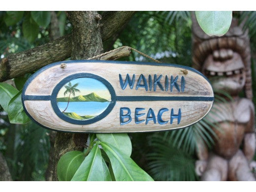 """Waikiki Beach"" Surf Sign 20"" - Painted Surf Scene"