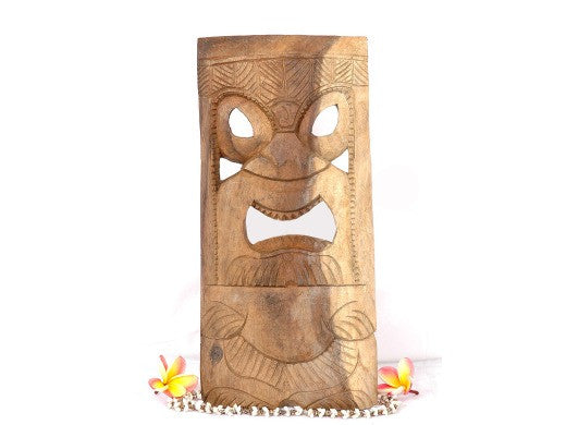 "Tiki Mask Kanaloa  - 18"" - Natural Color Hawaiian Tradition"
