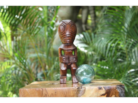 "Fisherman's Good Luck Tiki Totem 8"" Stained - Hawaiian Tiki Bar Decor"
