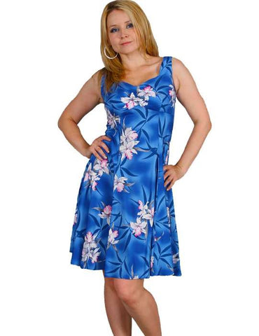 Blue Hawaii Orchids Rayon Sundress Tank