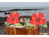 Aloha Sign w/ Red Hibiscus Flowers - Hand Painted Hawaii
