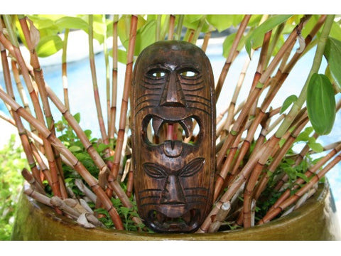 "Fijian Tiki Mask W/ 2 Deities - 12"" Evil Hunter - Polynesian Art"
