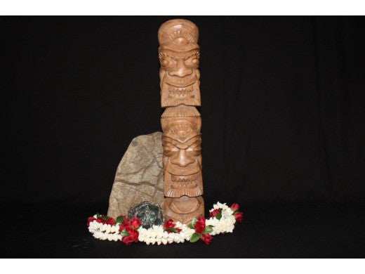 "Love/Money Hawaiian Tiki Totem 20"" - Carved"