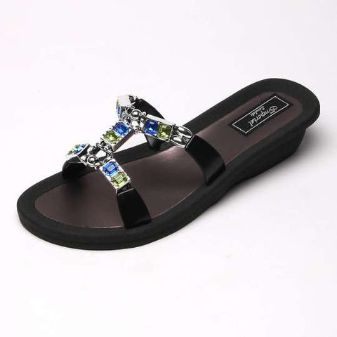 Open Toe Wedge Sandals La Noa Black