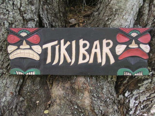 """Tiki Bar"" Tiki Sign - 24"" - Outdoor Pool Decor"