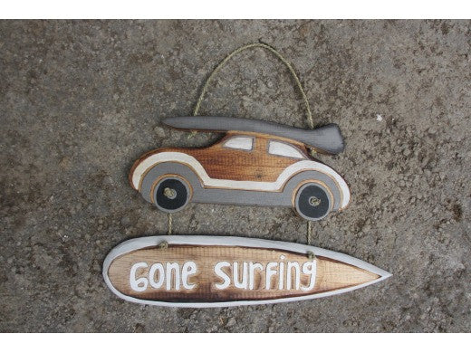 """Gone Surfing"" Woody Car Sign - 14"" - Beach Decor"
