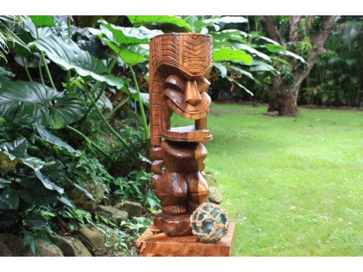 Warrior Ku Tiki Sculpture 26 in - Hand Carved | Hawaii Museum