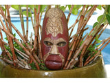 "Fijian Tiki Mask W/ 2 Carved Turtles - 12"" Fishing/Ocean - Polynesian Art"