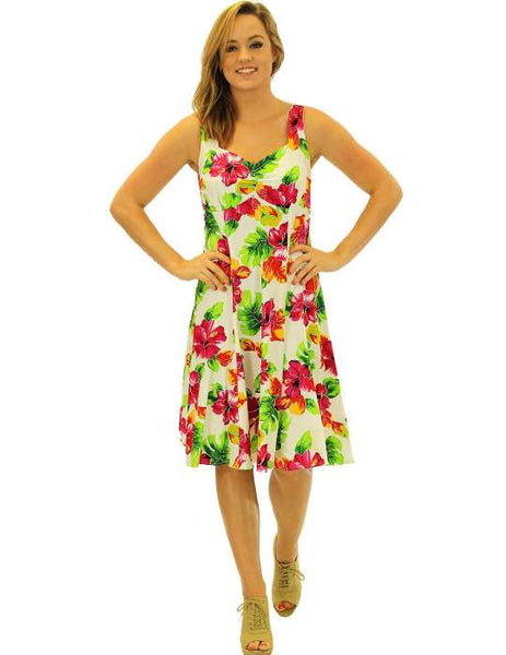 Mid Length White Water Hibiscus Tank Rayon Dress