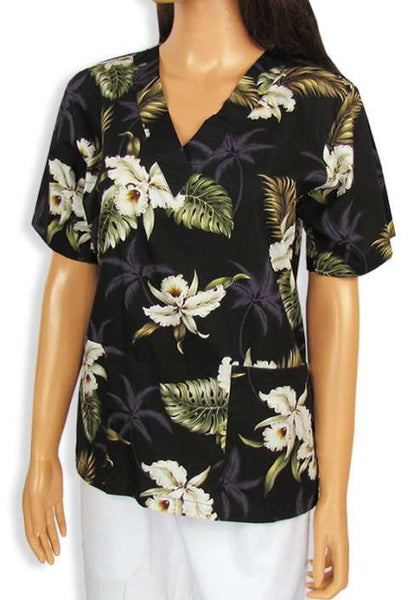 Cotton Hawaiian Nursing Scrubs Orchids Makani