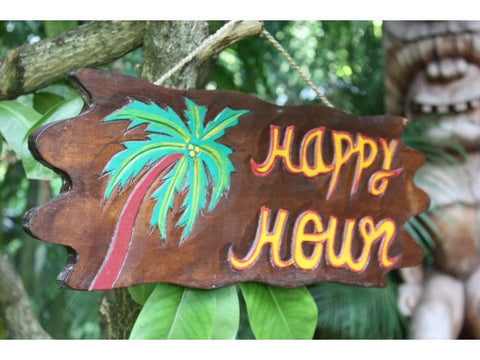 """Happy Hour"" Driftwood Sign 20"" - Tropical Accents"