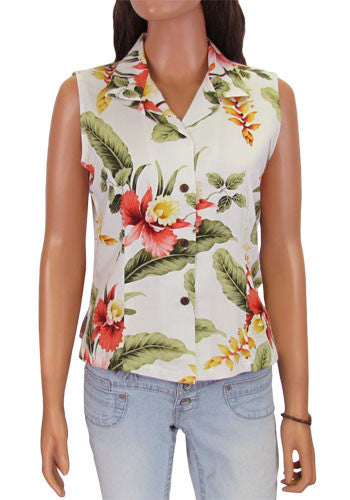 Orchid Pu'a - Sleeveless Hawaiian Blouse