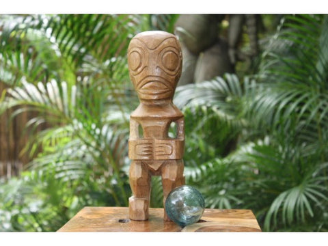 "Fisherman's Good Luck Tiki Totem 12"" Natural - Tropical Decor"