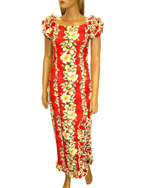Luana Long Muumuus Hawaiian Dress with Ruffle Hem and Slit
