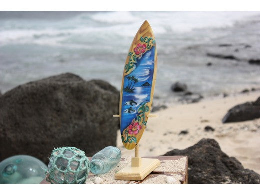 "Surfboard w/ Stand Dolphins & Hibiscus Design 12"" - Trophy"