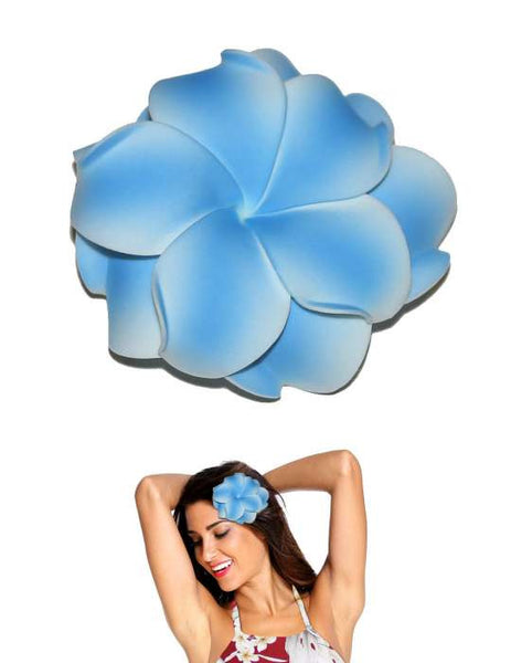 Extra Large Double Plumeria Flower Hair Clip Blue