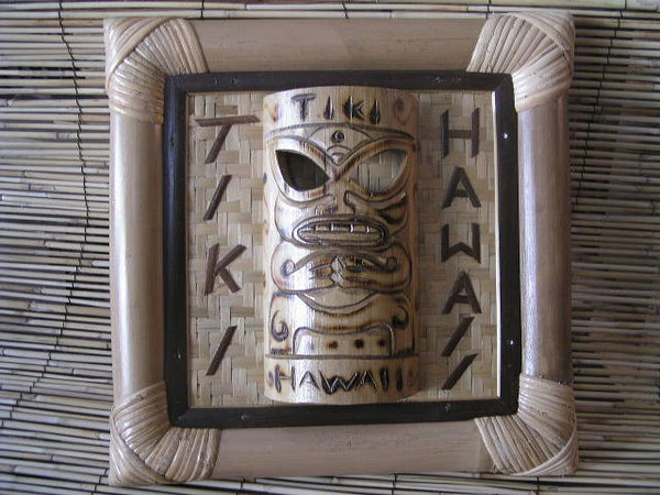"Bamboo Tiki Sign ""Tiki Hawaii"" W/ Bamboo Tiki Mask - Tiki Bar Decor"