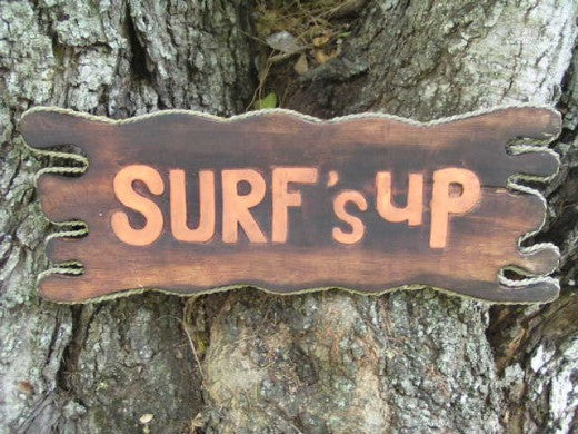 """Surf's Up"" Sign Drift Wood 20"" - Tiki Bar Decor"