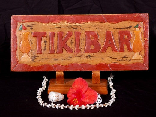 """Tiki Bar"" Sign Hand Carved & Hand Painted - Decor"