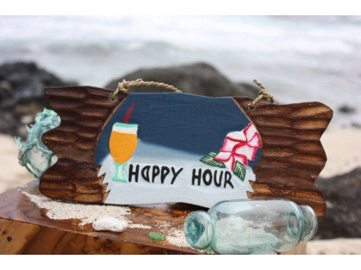 """Happy Hour"" Tiki Bar Sign Night on the Beach Sign"