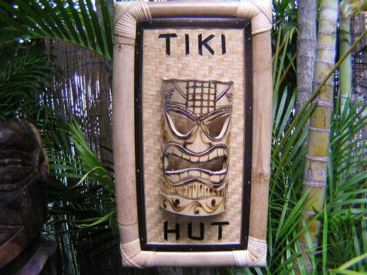 "Bamboo Tiki Sign ""Tiki Hut"" W/ Tiki Mask - Tiki Bar Decor"