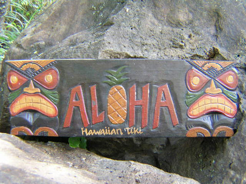 """Aloha"" Pineapple Tiki Sign - 24"" - Tiki Bar Decor"
