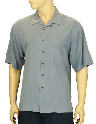 Island Resort Silk Men Blue Shirt Swordfish Style