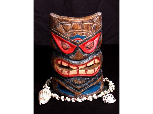 "Hospitality Tiki Mask 8"" - Hand Carved Painted"