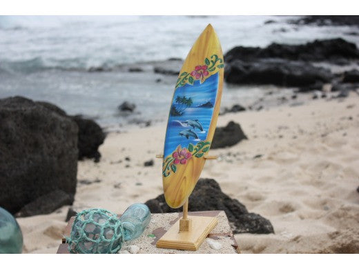 "Surfboard w/ Stand Dolphins & Hibiscus Design 16"" - Trophy"