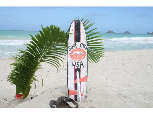 """Surf City USA"" Surf Sign w/ Fin 40"" - Surfing Decor"