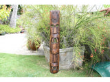 "Fijian Tiki Mask W/ 2 Deities - 40"" Evil Hunter - Polynesian Art"