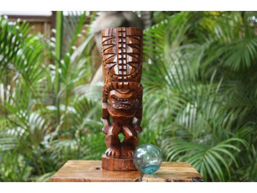 "Hurricane Tiki Totem 12"" Stained - Tropical Decor"