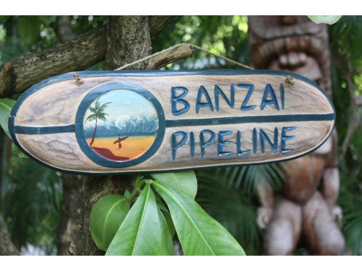 """Banzai Pipeline"" Surf Sign 20"" - Painted Surf Scene"