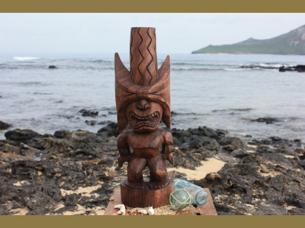 "Ku Kona-Style Tiki 20"" - Stained - Traditional Hawaii Museum Replica"