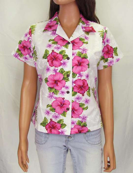 Women Cotton Aloha Shirt Big Island